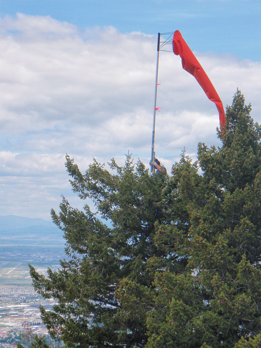 Windsock atop Mount Sentinel