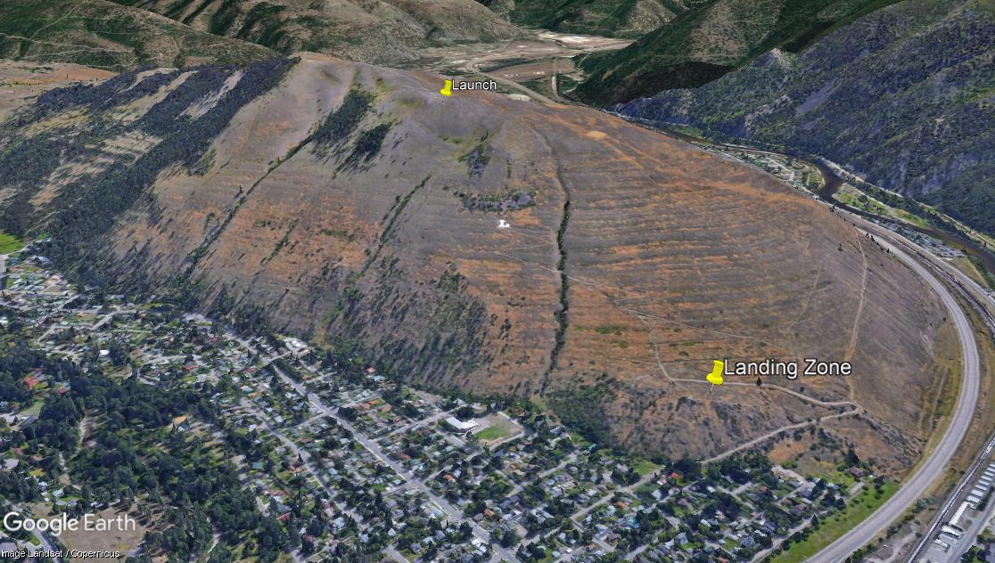 Missoula paragliding launch and landing zone for Mount Jumbo