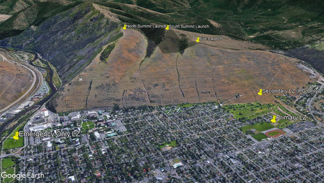 Missoula paragliding and hang gliding launches and landing zones for Mount Sentinel
